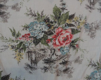 Vintage Rose Patterend Curtain Panels Fabric Lengths