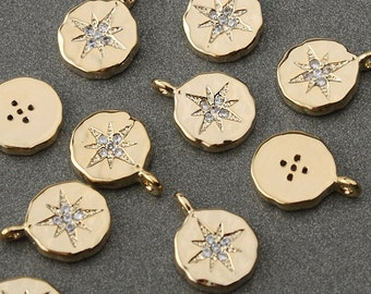 2PCS Cubic set CZ North Star for Pendant Charm Gold plated over brass / SP021GP