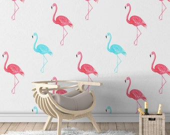 Flamingo Removable Wallpaper - Colored Flamingo Wallpapers - Peel & Stick - Self Adhesive Fabric - Temporary Wallpaper - SKU: FLAWAL