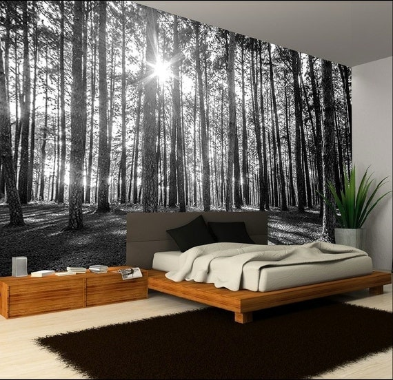 Items similar to photo wallpaper wall murals black and for Black and white forest wall mural