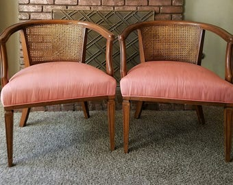 Two, 2, Pair of Hollywood Regency / French Barrel Back Seating Accent Guest Chairs