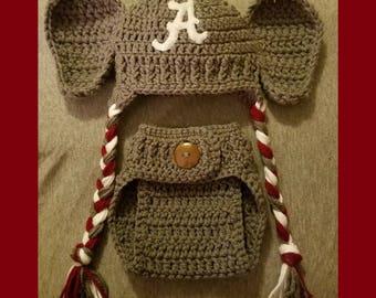 Crocheted Elephant Alabama Hat and Diaper Set