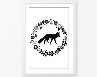 Fox silhouette black and white,monochromatic wall art,nature wall art,nursery poster,nursery printable,digital baby wall art,kids room decor