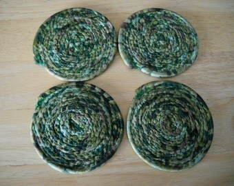 Set of four coiled fabric coasters//Coiled fabric coasters//Fabric coasters//Fabric coaster set//Green batik fabric coasters//