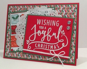 Hand Stamped Christmas Card - Merry Christmas Card - Embellished Red and Green Xmas Greeting Card
