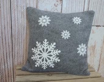 Gray Felt Snowflake Pillow - 12 inches