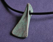 forged copper pendant, hand made, unique, jewelry for guys, green patina, for the raw, unrefined, adventurous spirit