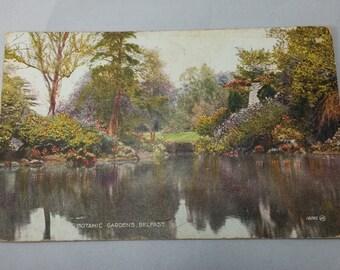 Scottish Postcard, Belfast Botanical Gardens, 1910, Inversnaid, Antique