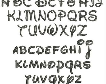 """2"""" Walt Disney Like Embroidery Font Upper, Lower, and Numbers 0-9 in 7 different formats for Instant Download"""