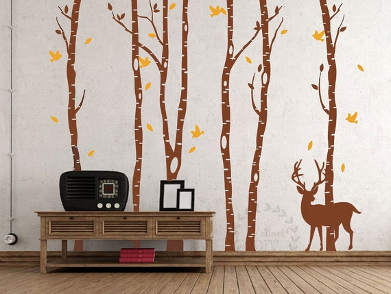 Tree wall decals birch tree forest wall mural full tree wall for Appliqu mural autocollant