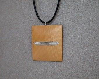 Wooden pendant mens jewelry neckpiece Huon Pine Sterling Silver hand made designer jewellery