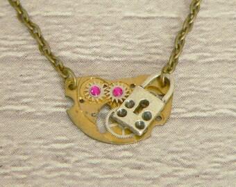 Silver Lock Steampunk Necklace, Steampunk Pendant, Padlock Necklace, Padlock Pendant, Steampunk Jewellery, Steampunk Jewelry