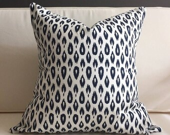 Pillow Cover, Navy Blue and White Ikat Pillow Cover - RUBY