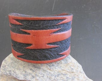 """2"""" Wide Hand Carved Leather Cuff"""