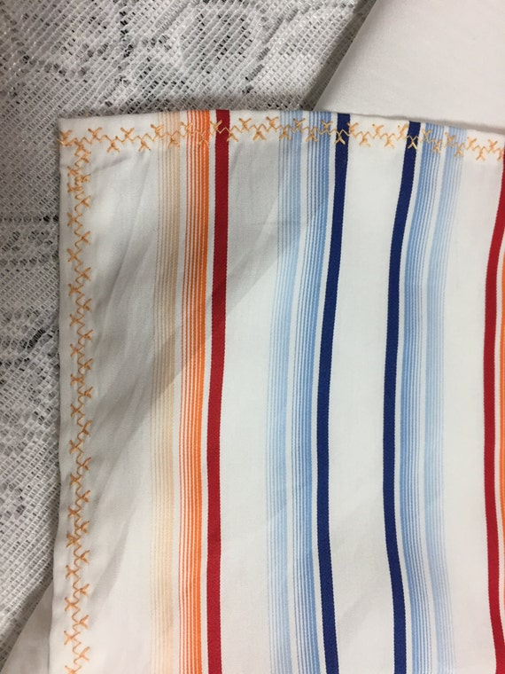 Cotton tablecloth white tablecloth blue and orange striped for White cotton table cloth
