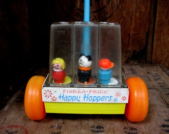 Happy Hoppers Toy, Fisher Price, Vintage Fisher Price, 1960s Toy, Fisher Price Toy, Push Along Toy, Toddler Toy, Roller Toy, Walker Toy
