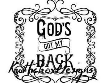 Spiritual Svg, God Svg, Gods Got My Back Svg, Dxf For Silhouette, Swirly Frame Svg