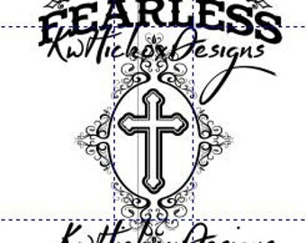 Cross Svg, Fearless Svg, Svg File, Spiritual Svg, Swirly Frame Svg, Dxf For Silhouette