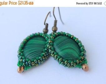 VALENTINE SALE Girlfriend Christmas Malachite Earrings Christmas gift Malachite gemstone Beaded Earrings Green Earrings Made with Love T