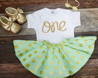 Polka Dot 1st Birthday Outfit Girl | Mint Green and Gold Polka Dot Twirl Skirt Outfit with Gold ONE Glitter Onesie© | 1st Birthday Set Girl