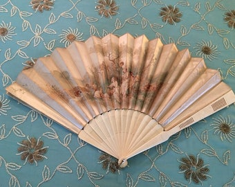 Antique CREAM Historic Scene Silk Fan, Fan Slats unknown Cream and firm material, Large, Gorgeous Historic Scene SILK Antique Fan