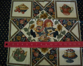 Destash- Navy Raggedy Ann And Andy Vintage Pillow Size Print Fabric