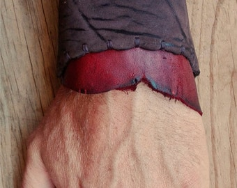 Handmade Upcycled Deerskin Leather Rustic Lace-Up Wrist Cuff