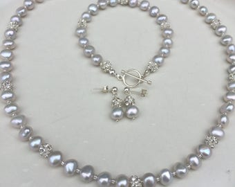 Grey Freshwater Pearl necklace with Sterling Silver toggle