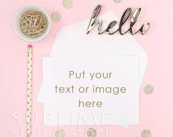 Styled Stock Photography / Styled Stationery / Blank Card / Styled Card / Card Mock up / Card With Envelope / Pink and Gold / StockStyle-817