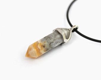 Gargantilla de cristal ágata loca del cordón, collar de piedra de curación