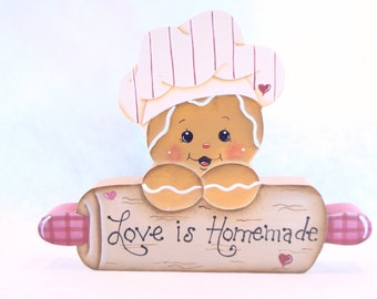 Love is Homemade, Item #CPH62, Gingerbread Fridge Magnet and/or Shelf Sitter, ByBrendasHand, Gingerbread Chef Kitchen Decor, Rolling Pin