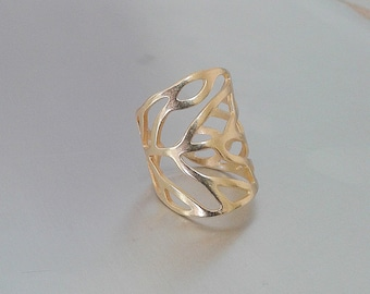 Gold , Silver Wide band rings - Shield Cuff Ring - Gold, Silver Wide Band Handmade Ring.