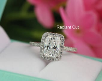 3.4ct tw Emerald Radiant Cut Engagement Ring, Radiant Halo Diamond Simulant Promise Ring, Bridal Ring, Wedding Ring, Sterling Silver
