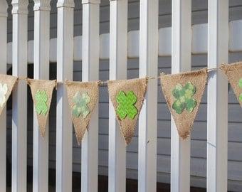 St. Patrick's Day Burlap Pennant Banner