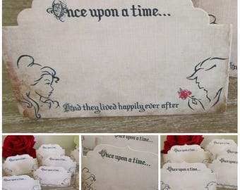 8 Beauty & The Beast Blank Table/Place Name Cards Decoration,Wedding,Party, Tent Cards,