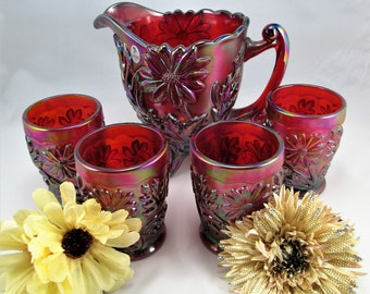Beautiful Limited Edition  1905 Fenton Founder Red Carnival Glass Water Pitcher Set  with 4 Glasses Signed.  The Set is numbered and Signed!