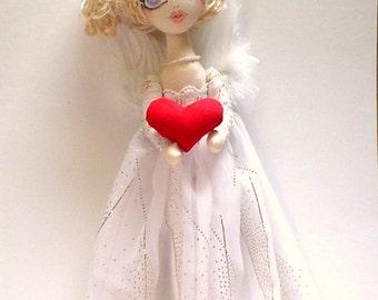 ANGEL cloth doll,CHARITY(love) Art Doll, Original, handmade doll,Heavenly, holy OOAK, keepsake, heirloom, one of trio (Faith, Hope, Charity)
