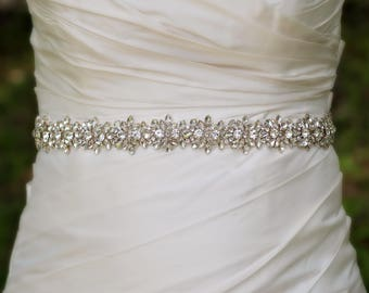 Beaded Wedding Sash | Wedding Belt | Rhinestone Bridal Belt | Bridal Belt Sash | Crystal Bridal Sash | Wedding Sash | Crystal Wedding Belt