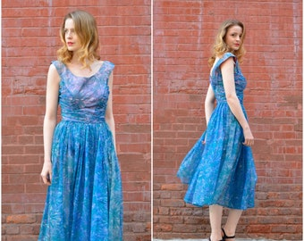 A Lovely Night dress / vintage 1950s dress / 50s blue floral chiffon party dress
