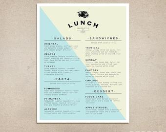 Custom Restaurant Menu - Printable PDF - Diner, Pub, Coffee Shop, Fast Food, Cafe Menu, Food Truck, Template, Breakfast, Lunch, Dinner