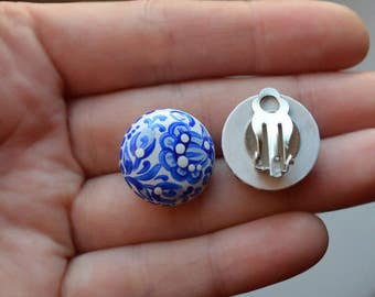 earrings wedding Jewelry blue clip earrings Flower Clip|On|Earrings non pierced flower earrings Gift idea earrings Handmade wood earrings