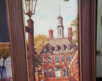Original Canvas Painting Street Light Colonial Home and Common Framed Painting