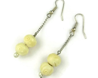 Carved Ox Bone Bead Dangle Earrings