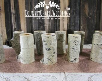 12 Aspen Log Candle Holders ~ Rustic Wedding Candles, Country Wedding Candles, Wedding Table Centerpiece, Log Candle Holder ~ Summer Wedding
