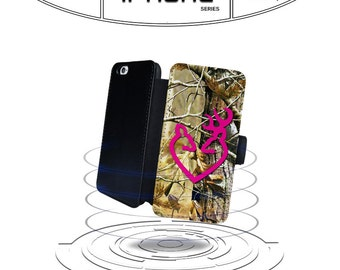 Tree Camo Buck Hot Pink Buck Love Real for  Leather Wallet for iPhone 4 4s 5 5s 6 6s 6 7 Plus Phone Case