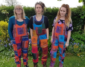 Patchwork dungarees jumpsuit overalls, heavy cotton, block print symbols, om peace, aztec funky festivals hippy boho, XS S/M L/XL XXL