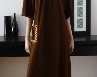 robe vintage 70's longue bohème folk hippie marron taille 38 - uk 10 - us 6