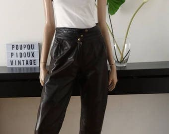 vintage 80's brown leather pants size high-waist 38 - us 6 - 10 uk
