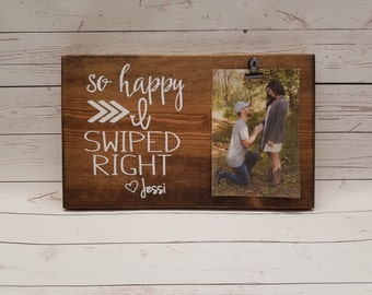 So happy I swiped Right, Tinder Picture Frame gift! Gift for boyfriend, girlfriend, photo board, picture with clip, wood, anniversary ht7x12