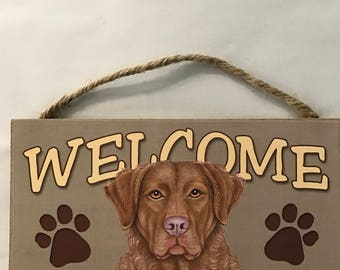 Chocolate Lab Wood Welcome Sign